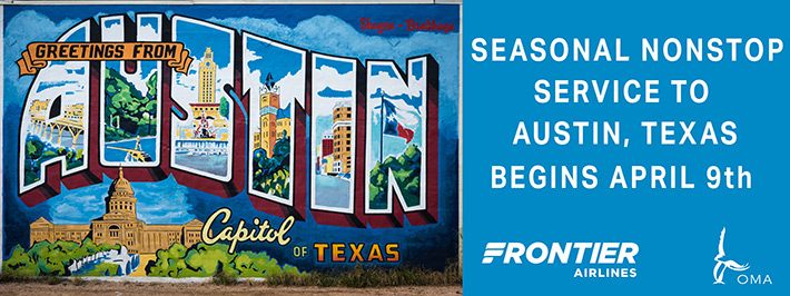 Seasonal Service to Austin, Texas begins April 2018 on Frontier