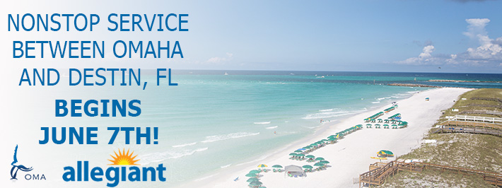 Nonstop Service to from Omaha to Destin, FL Begins June 7th!