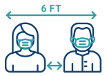 An icon showing two people wearing masks, standing 6ft apart.