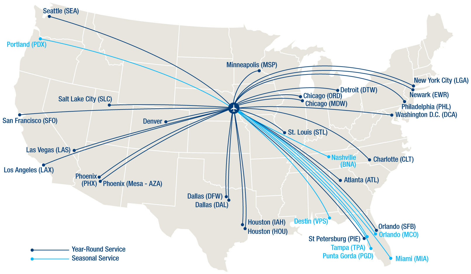 A map of Eppley's non-stop destinations as of August 2021