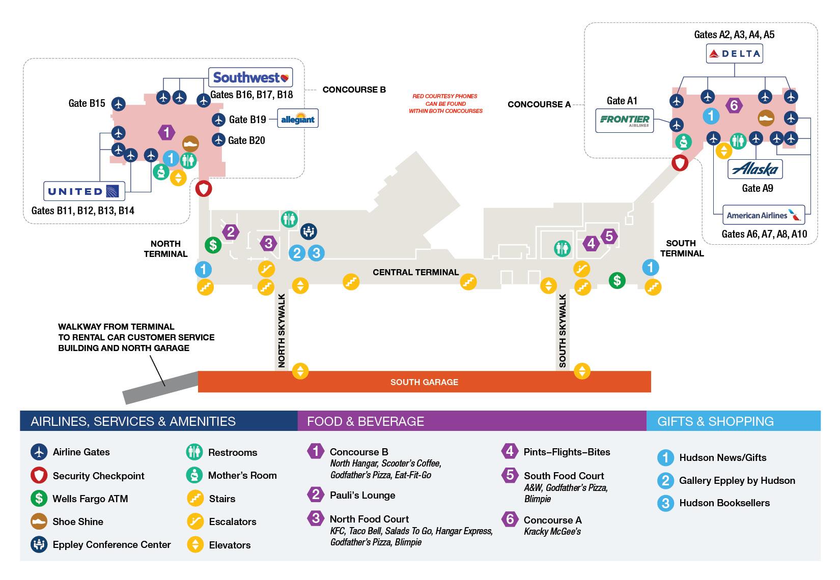 Eppley Airfield Upper Level Terminal Map