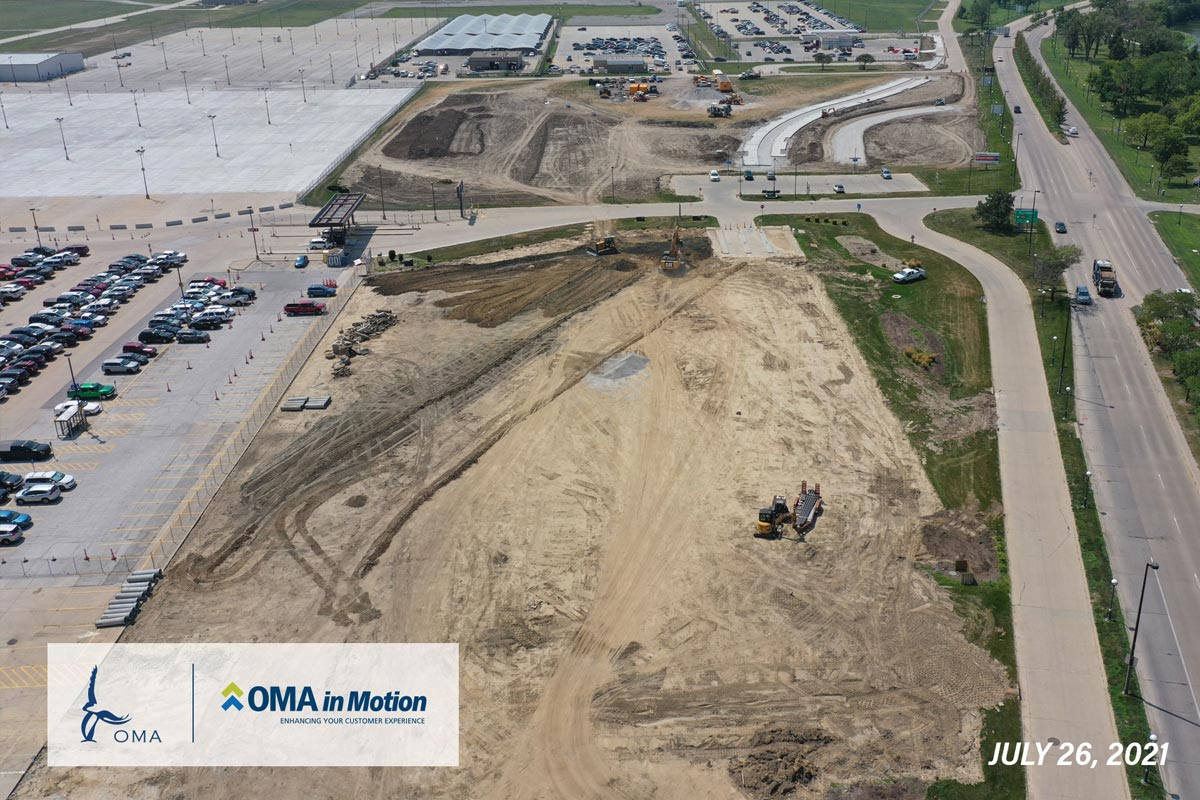 OMA in Motion progress - July 26th 2021 - An arial view of the progress on the Terminal Access Roadway as of August. Construction has begun and concrete foundations have been poured.