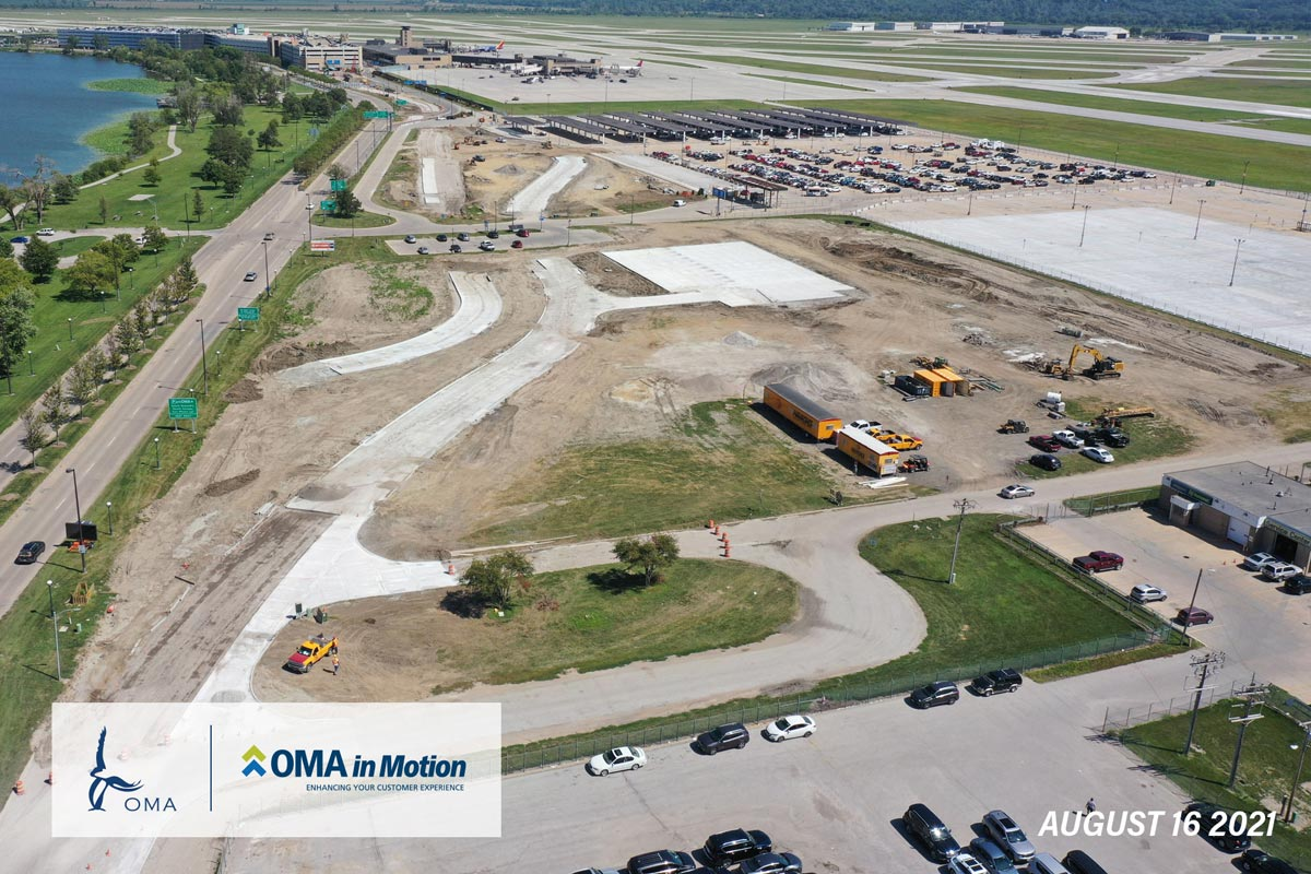 OMA in Motion progress - August 16th 2021 - An arial view of the progress on the Terminal Access Roadway as of August. Construction has begun and concrete foundations have been poured.