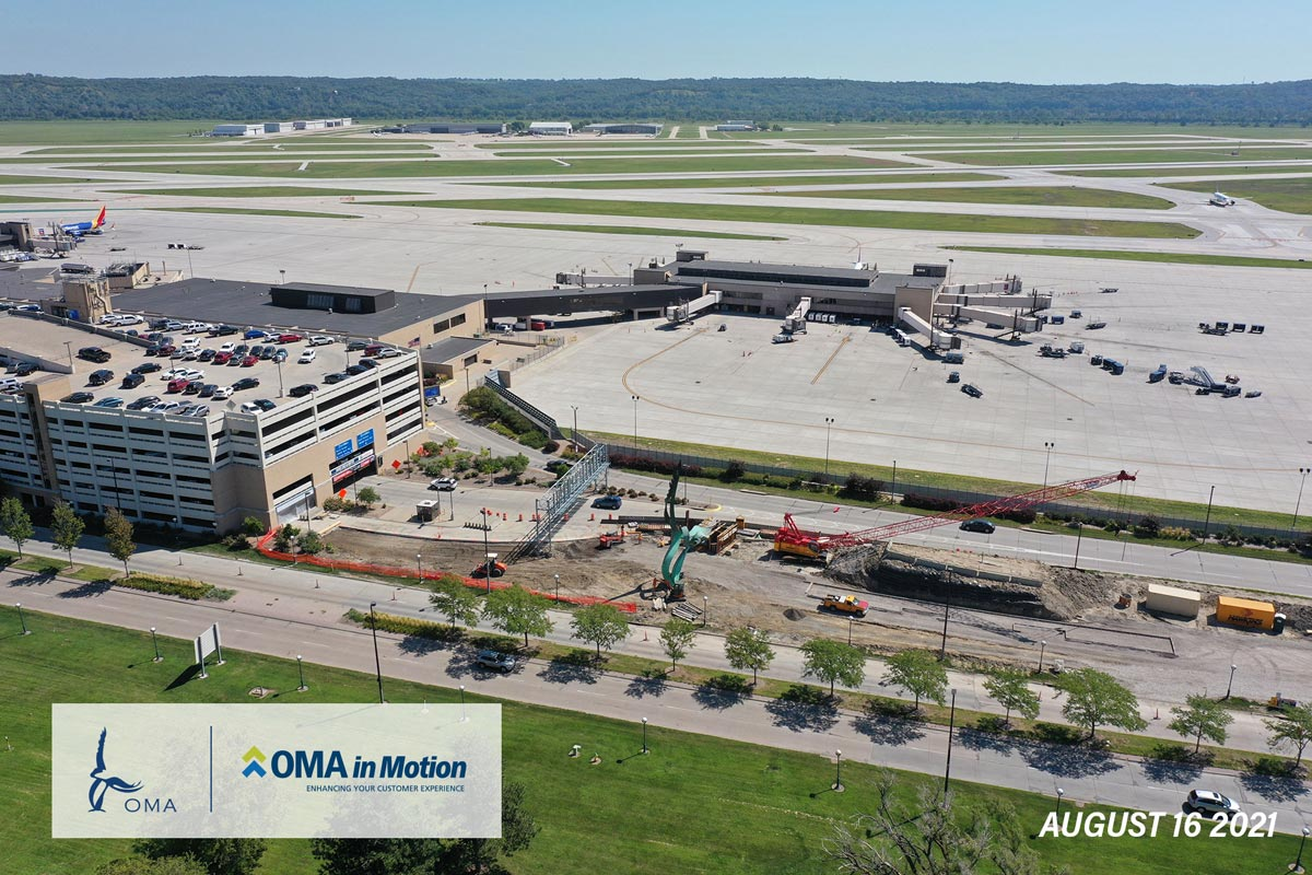 OMA in Motion progress - August 16th 2021 - An arial view of the progress on the entrance to the South Garage. Old roadway has been removed.