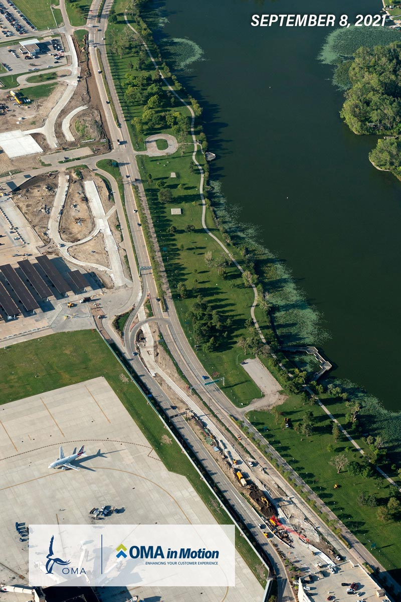 An arial overhead view of the entrance renovation project.