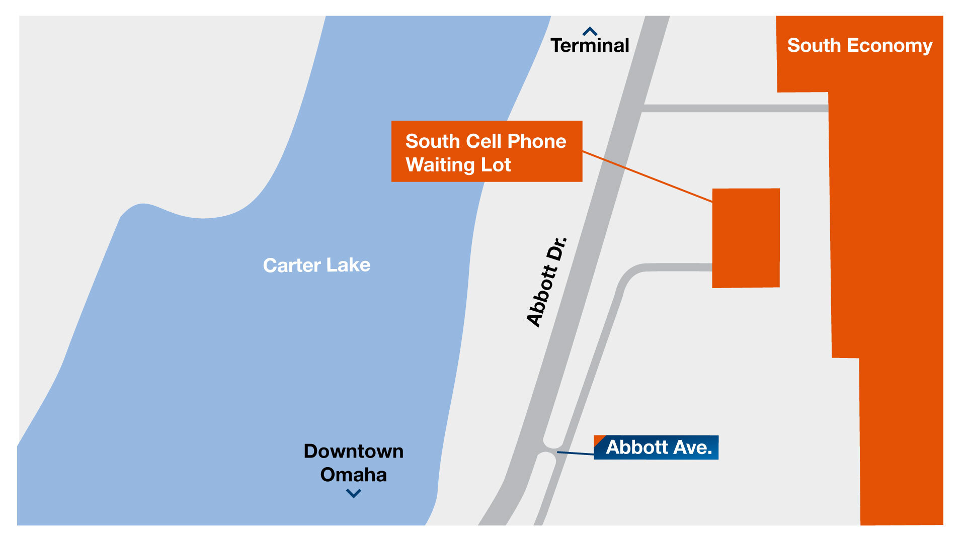 A map showing the entrance to the new cell phone waiting lots.